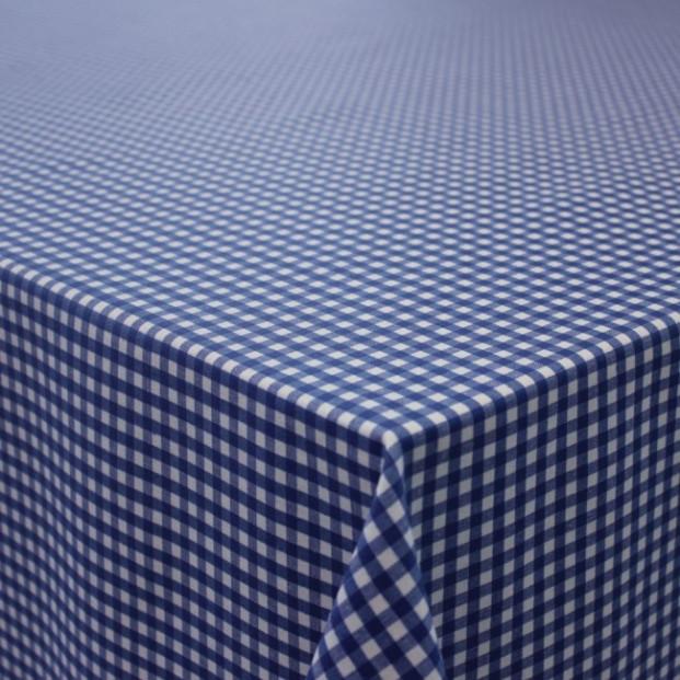 Patinir, ternet akryldug blå/hvid - 180 cm bred