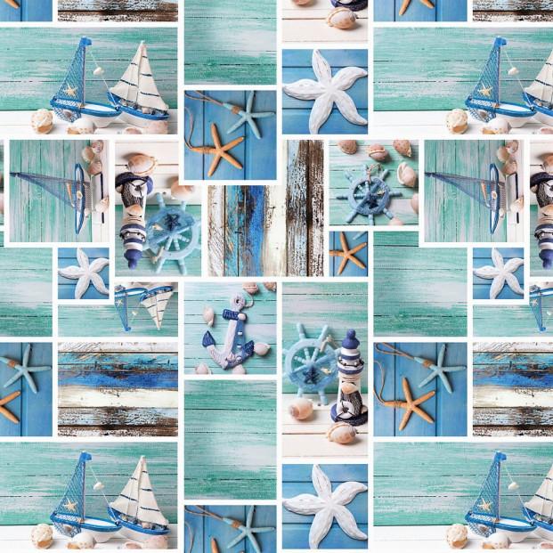 Strandliv - Voksdug med maritime motiver