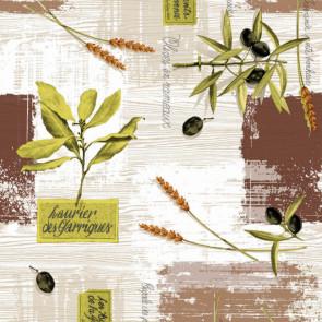 Voksdug med oliven, 160 cm bred