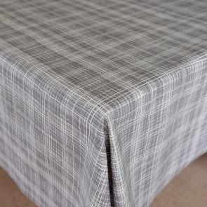 Flow Grey - Flot akryldug med enkelt streg mønster, 140 cm