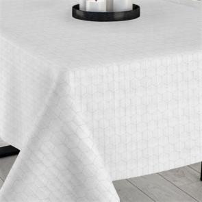 Janco hvid, jacquard vævet akryldug, 140 cm bred