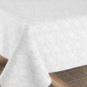 Manno hvid, jacquard vævet akryldug, 140 cm bred