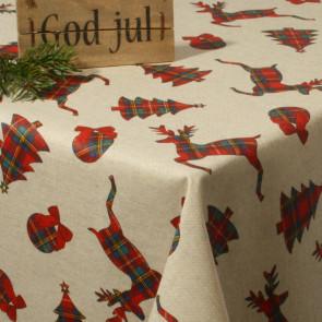 Juledug Jul i Quilt - akryldug med Rudolf