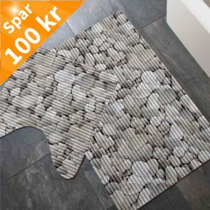 Bademåttesæt sten motiv, 80 x 48 cm + 48 x 48 cm