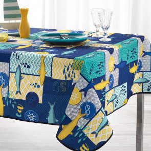 Blue Lagoon Navy Blue, dug med anti-plet, 150 x 240 cm
