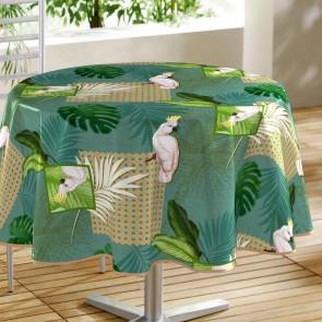 Cacatoes Green - Rund voksdug med papegøjer, Ø 160 cm