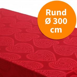 Rund damaskvævet juledug - Damask Hearts rød, Ø 300 cm