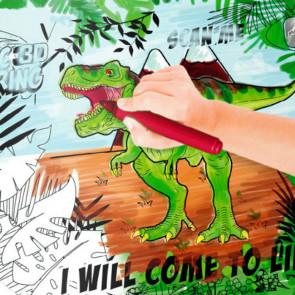 Dino, mal selv voksdug, 140 cm bred