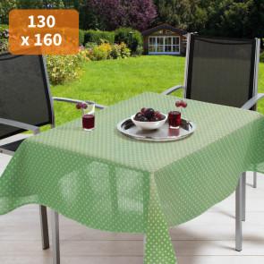 Polka grøn/hvid 130 x 160 cm - Rektangulær sommerdug til havebordet