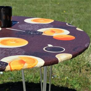 Kaffe Brun - Rund akryldug med elastik - Til bord Ø 90 - Ø 130 cm