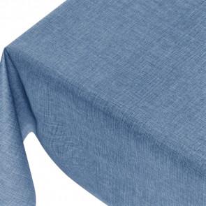 Linen Look Mixed Blue - ensfarvet voksdug i hørlook med præget overflade