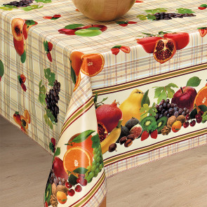 Frugtskålen - Voksdug med frugter på fin ternet bund