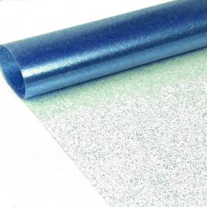 Klar plast med blå glitter Gennemsigtig voksdug