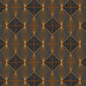 Guld-Væv - Voksdug med flot grafisk mønster i guld