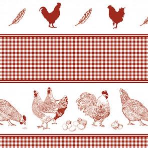 Hønsefødder - Voksdug med høns og kyllinger og fineste Karolinetern