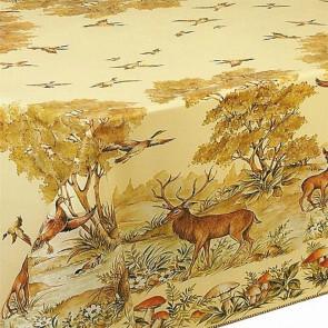 Jagtdug, voksdug med jagtmotiv - Kronvildt, ænder, natur med mere