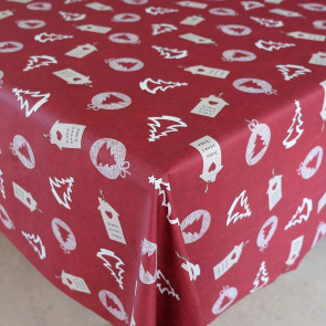 Juledug, Home Sweet Home, bordeauxrød - Akryldug med julemotiver