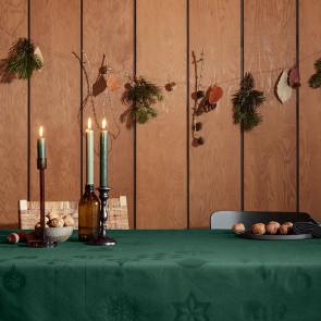 Juna Juledug Natale, flot damaskdug i grøn - 150 cm x 370 cm
