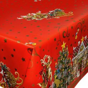 Julevoksdug - Jul i Kagehuset, rød, 140 cm bred