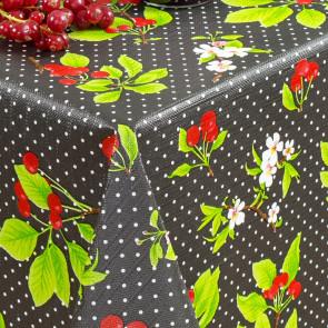 Kirsebær i blomst og høst, sort - Rund voksdug med elastik