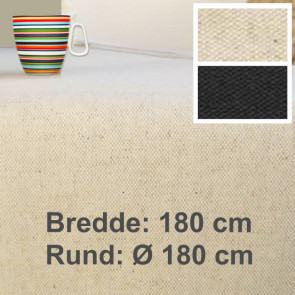 Lino 180, ensfarvet akryldug, hør bomuld, 180 cm bred eller rund Ø 180 cm