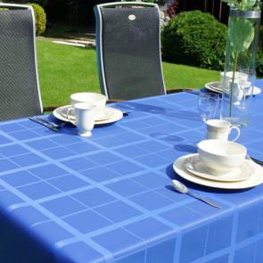 Ternet akryldug med teflon, blå, 140 cm bred.