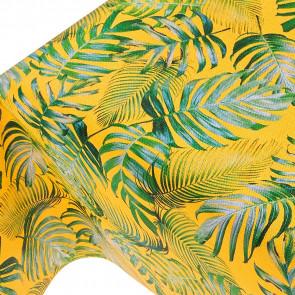 Madeira Yellow - voksdug med struktur og palmeblade på solgul bund