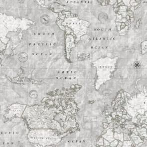Map Mundi grå, akryldug med verdenskort
