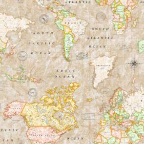 Map Mundi, akryldug med verdenskort  beige