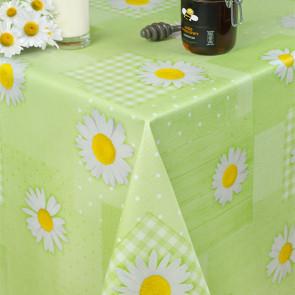 Margeritter og patchwork - Rund voksdug med elastik