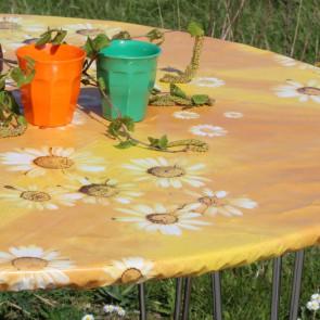 Margueritter i solskin - rund voksdug med elastik - Til bord Ø 60  - Ø 130 cm