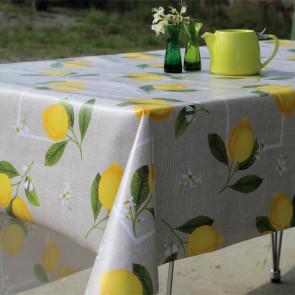 Modne Citroner - voksdug med citroner på hør lignende bund, 160 cm bred