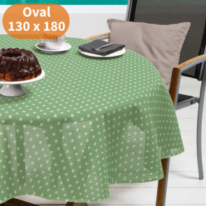 Polka grøn/hvid 130 x 180 cm - Oval sommerdug til havebordet