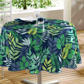 Palma Blue - Rund voksdug med blade, Ø 160 cm