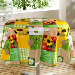 Patchfleur - Rund voksdug med solsikker, Ø 160 cm