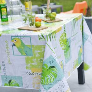 Perroquet, voksdug med glade grønne papegøjer