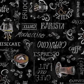 Ristretto sort, voksdug med kaffe og dejlig café stemning