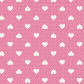 Romance, rosa voksdug med hvide hjerter
