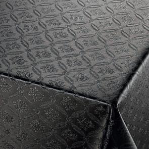 Rose Tapestry Black, sort damask præget voksdug