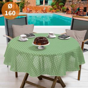 Polka grøn/hvid Ø 160 cm - Rund sommerdug til havebordet