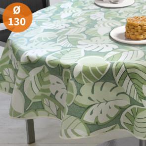 Tropical Leaves Green Ø 130 cm - Rund sommerdug til havebordet