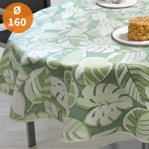 Tropical Leaves Green Ø 160 cm - Rund sommerdug til havebordet
