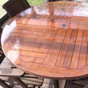 Rund gennemsigtig voksdug med elastik - Til bord Ø 60  - Ø 150 cm