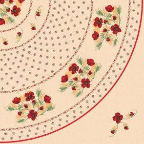 Røde blomster -  Rund Provence voksdug  Ø 155 cm