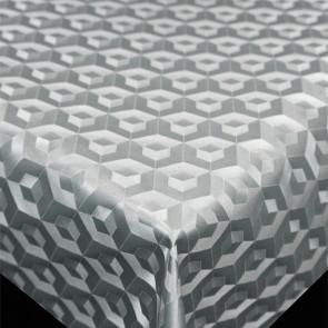 Scala 3D Cube Silver - Rund voksdug Ø 140 med kantsyning