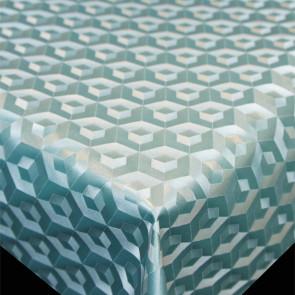 Scala 3D Cube Turquoise - Voksdug med flot præget ranke mønster