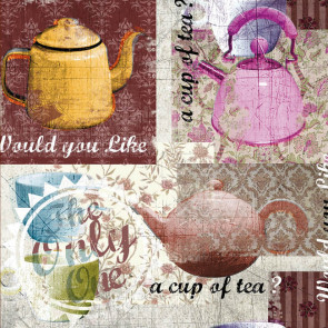 Teabreak voksdug med flot fotoprint og lakoverflade