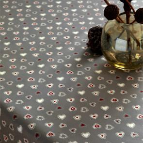 Jule-tekstilvoksdug - Hjertehimmel grå