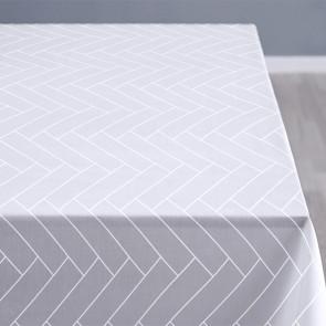 Södahl Tiles Optisk hvid, klassisk damaskvævet akryldug med antiskrid