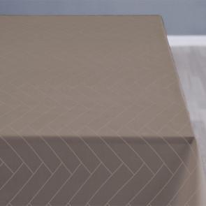 Södahl Tiles Taupe gråbrun, klassisk damaskvævet akryldug med antiskrid